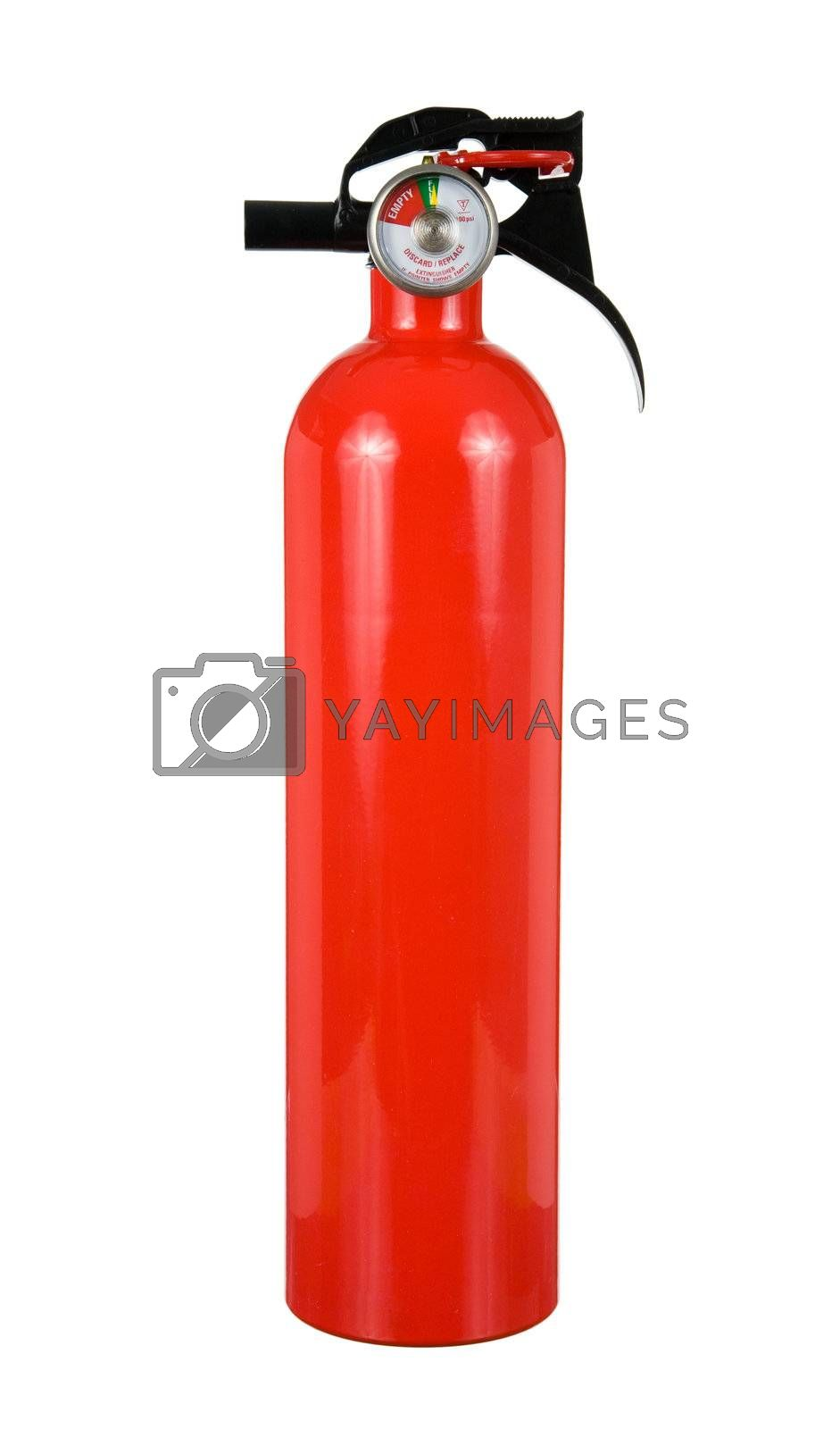 An isolated fire extinguisher on a white background.