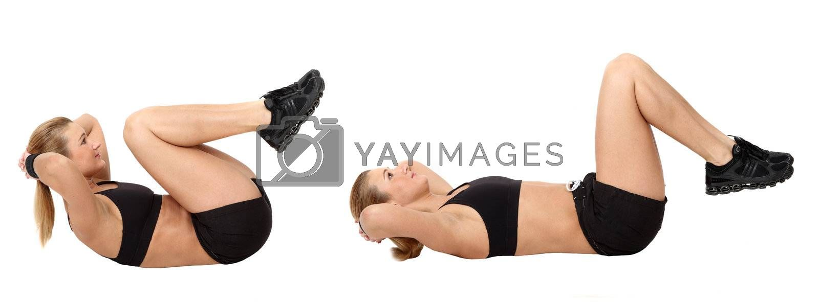 The girl, the instructor shows different exercises