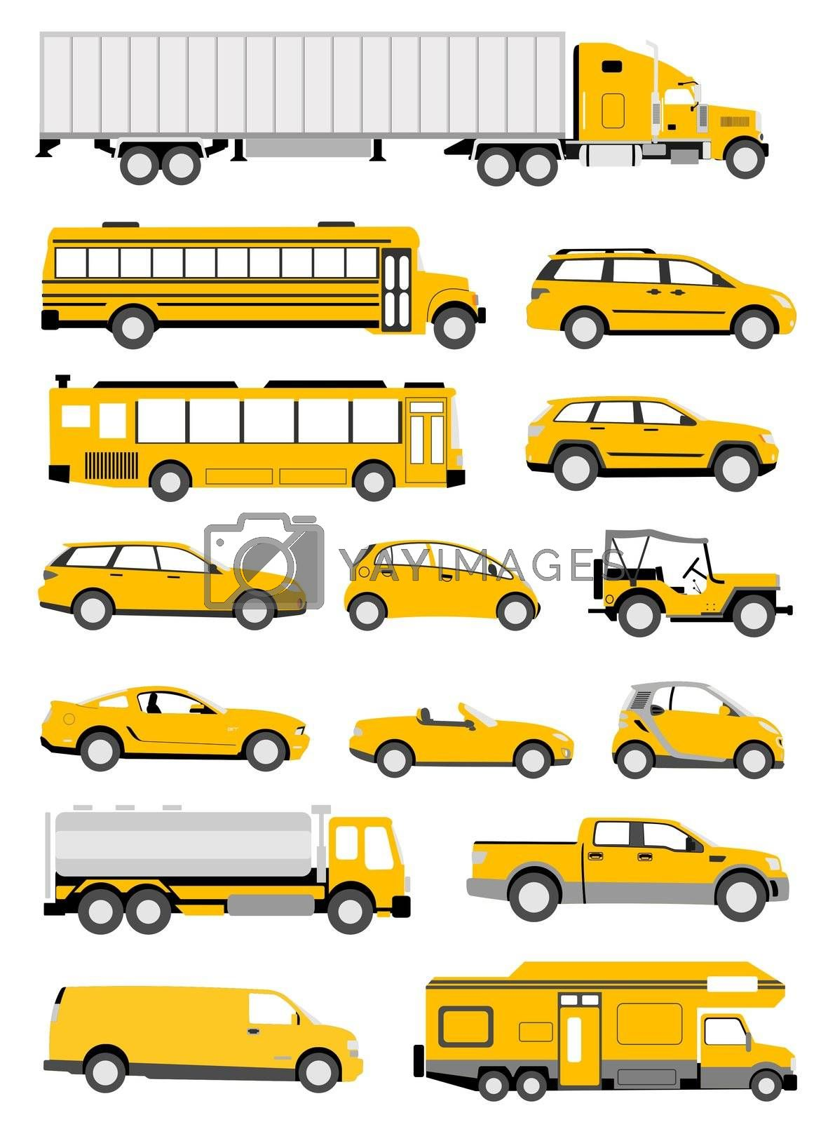 An illustration of transportation icons in yellow color