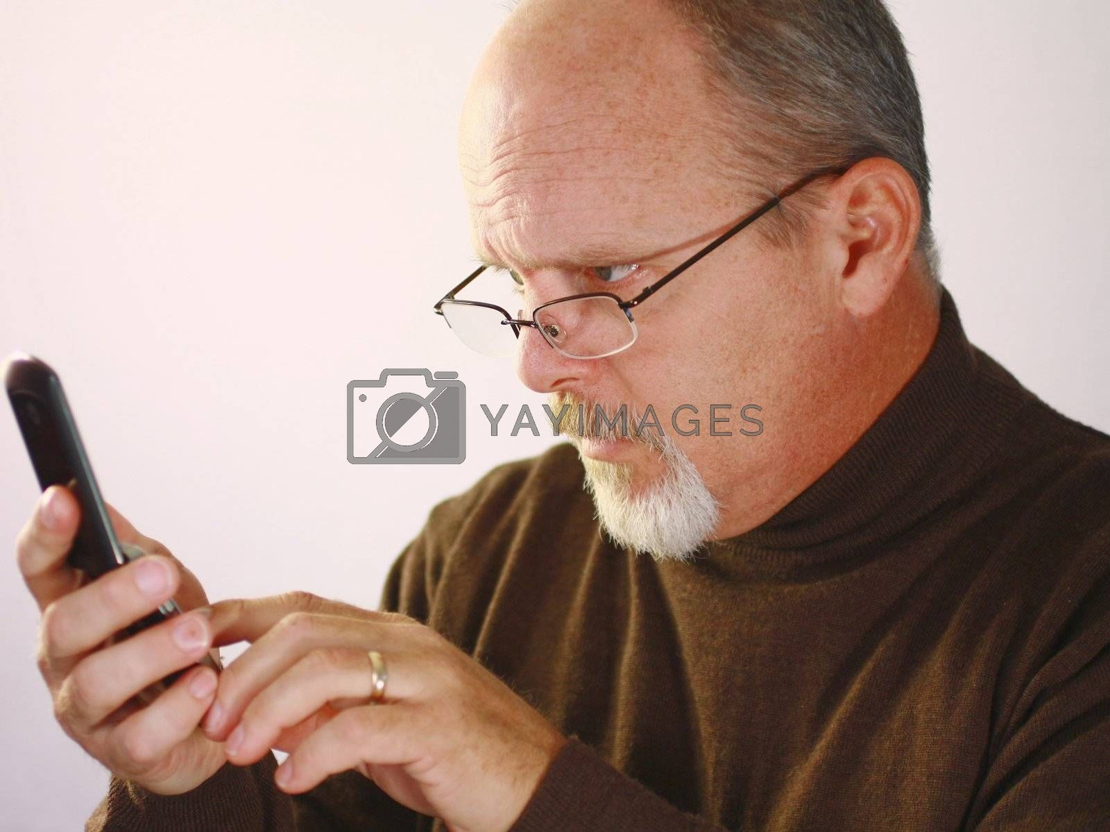 Man looking at cell phone