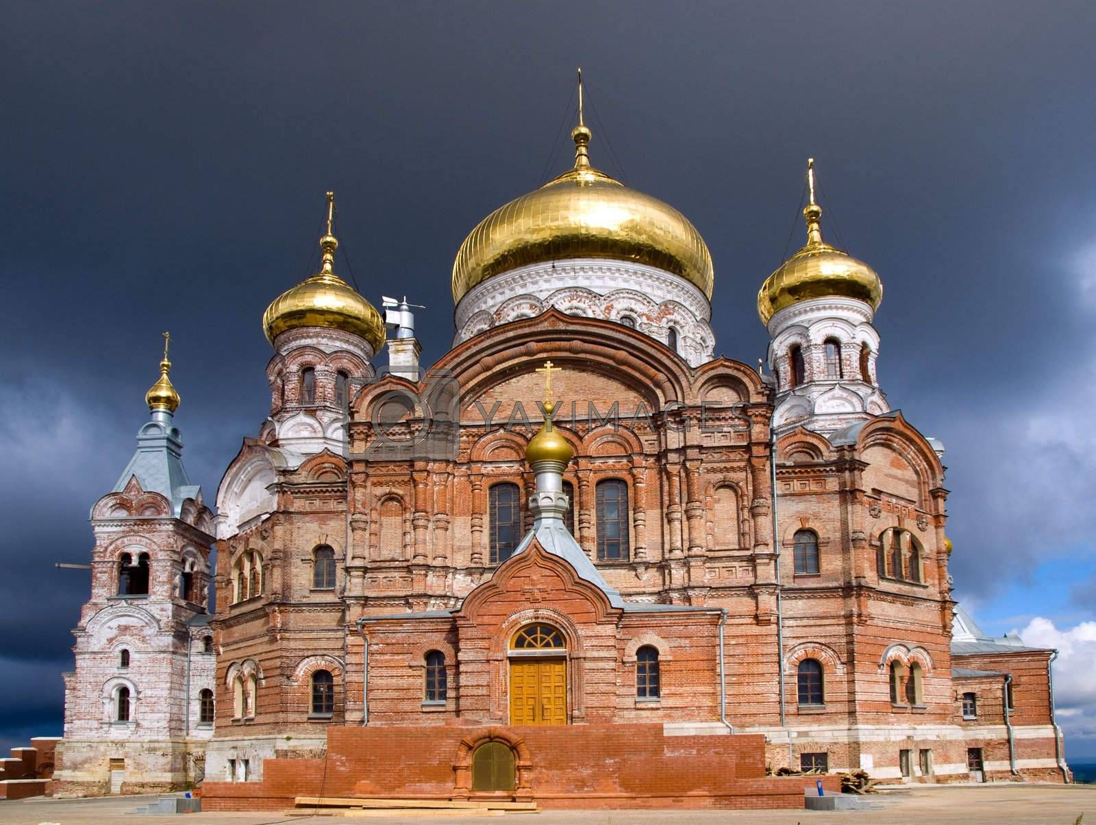 Orthodox temple with gold domes