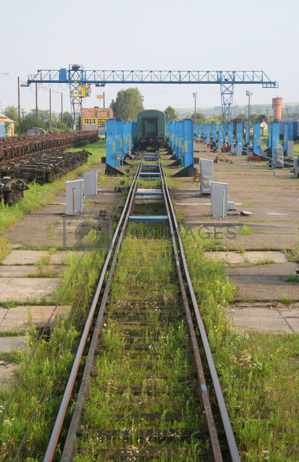 Eastern european train depot for changing wheels on carriages