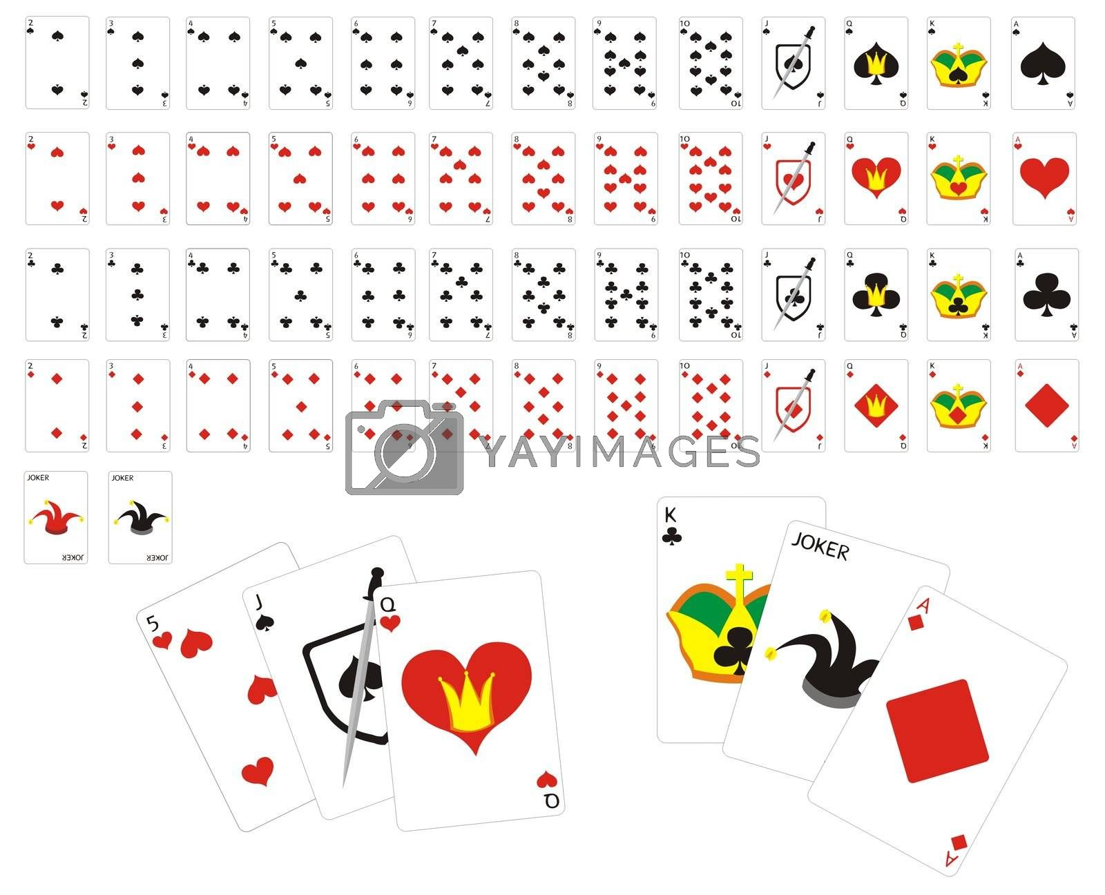 illustration of full deck of simple playing cards
