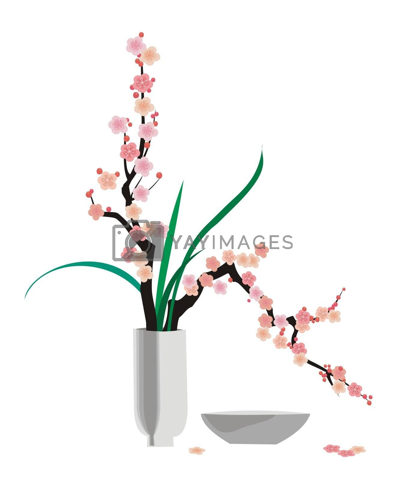 Ikebana-style arranged flowering cherry twigs, illustration