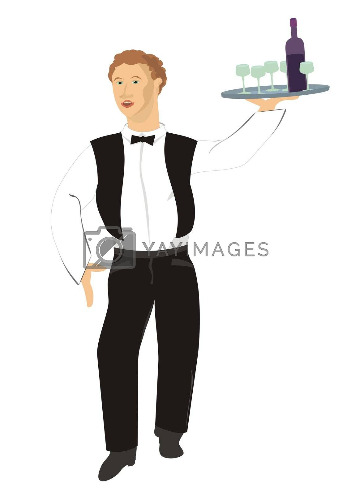 professional restaurant waiter serving vine, illustration