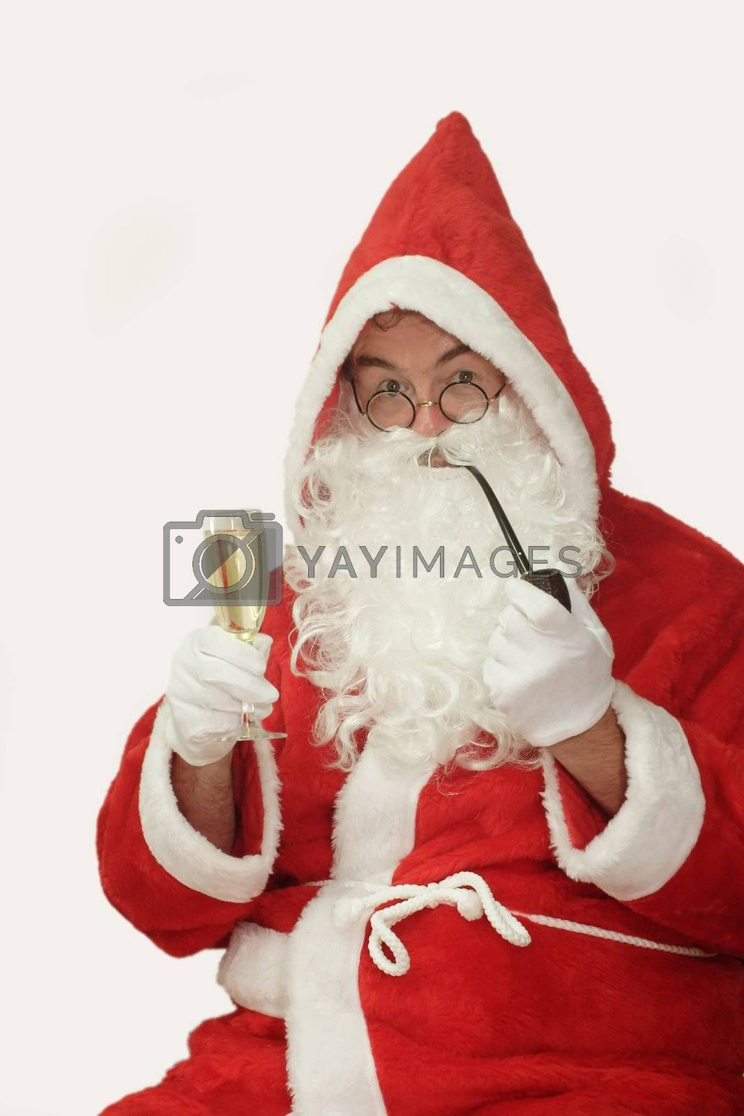 Male caucasian model of santa claus - isolated on white background