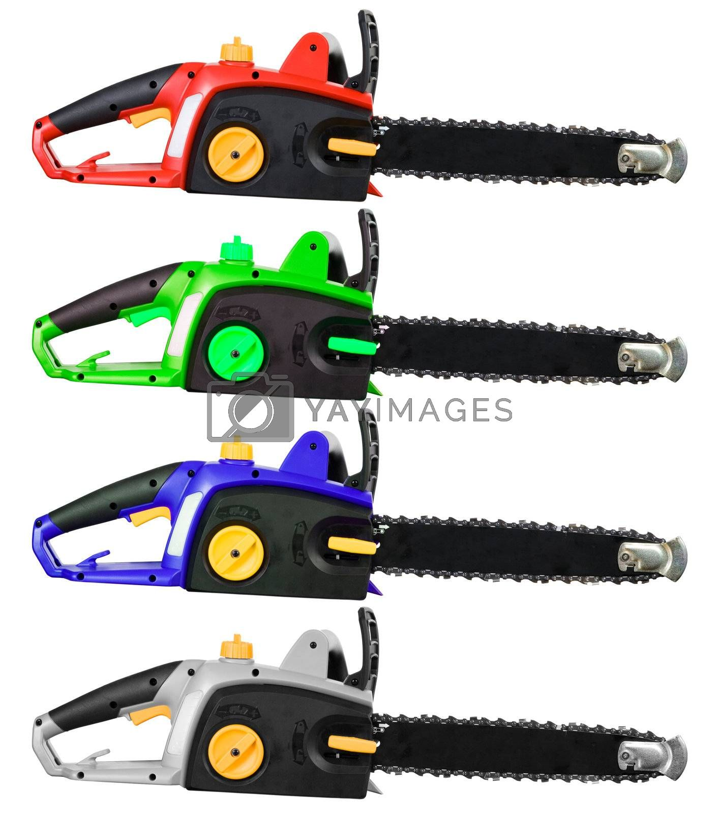 A set of chainsaws isolated on a white background.