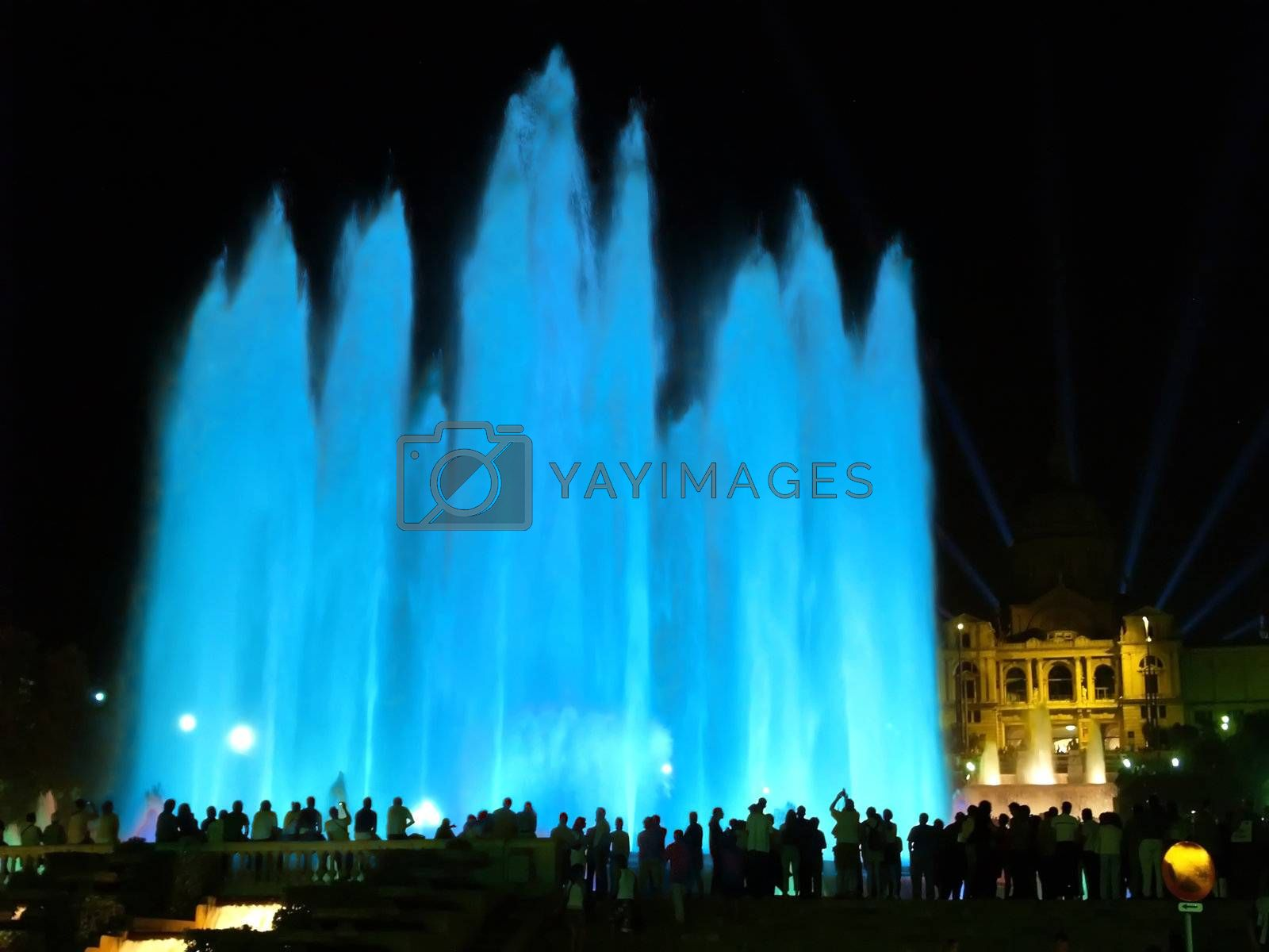Montjuic (magic) fountain in central Barcelona Spain