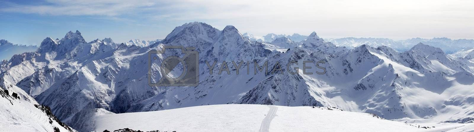 Russia. Caucasus. View on Elbrus Mount - the highest point of Europe from Cheget Mount. Panorama the review from 6 shots