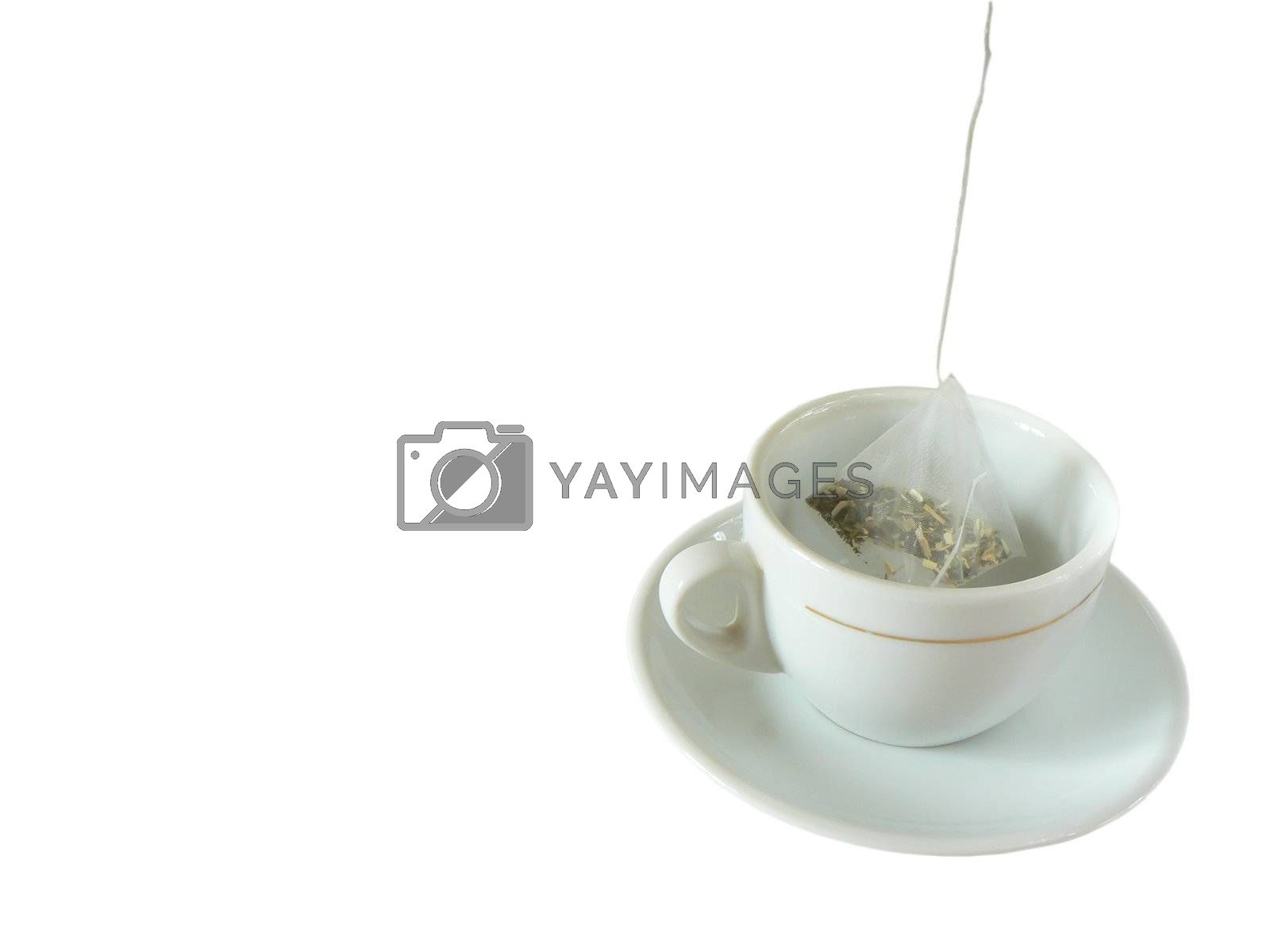 Cup and tea bag isolated on white background