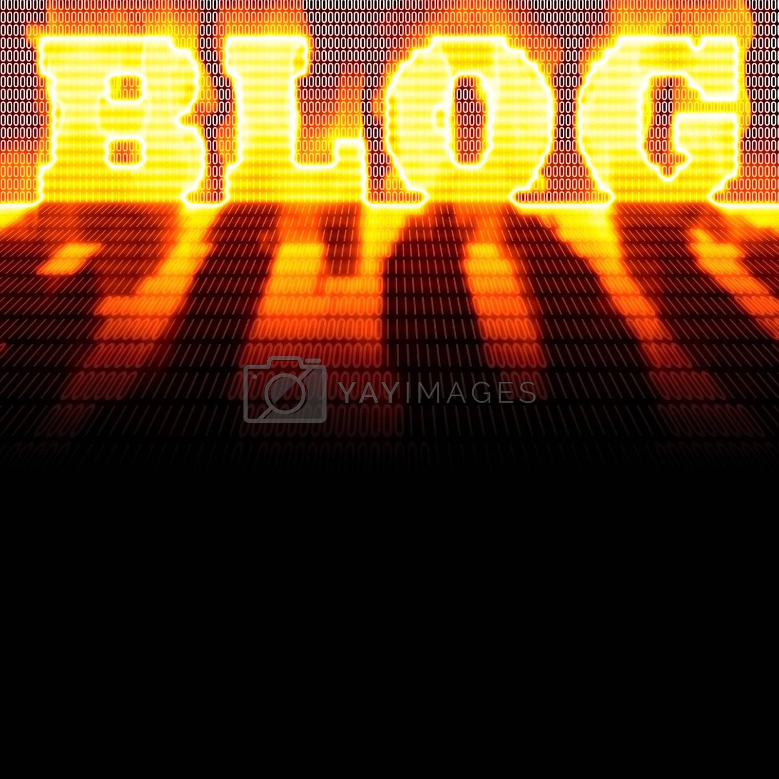 The word BLOG formed out of binary code and burning in flames while isolated over a black background.