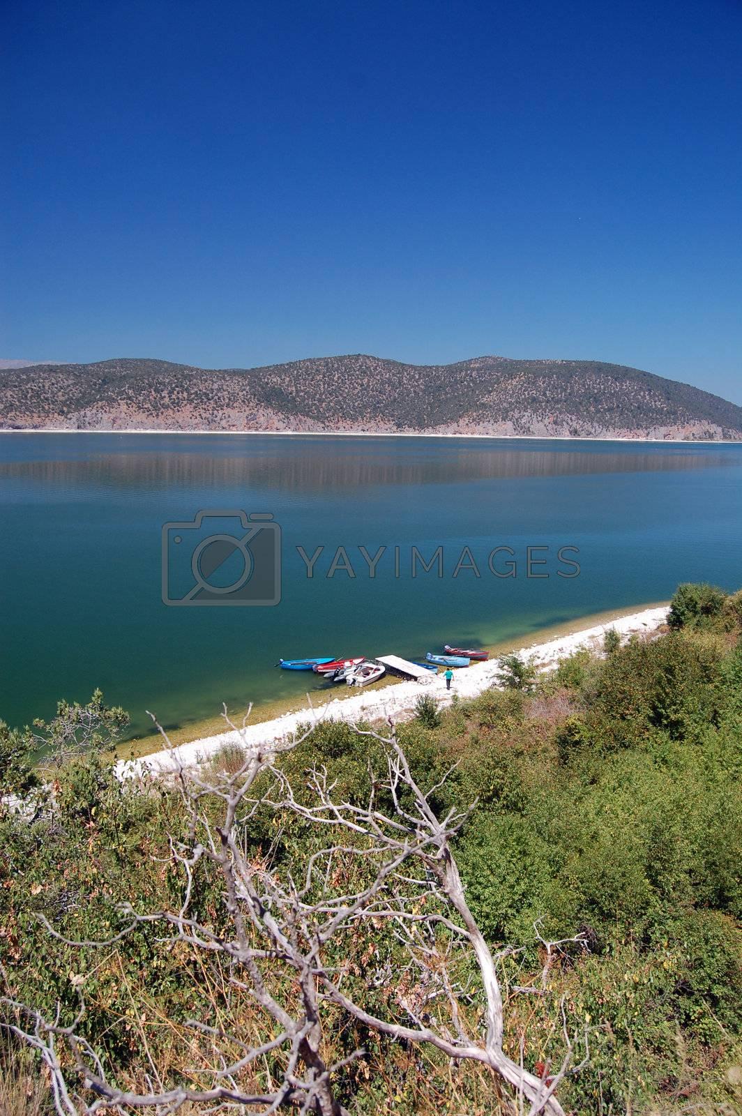 lake prespa in macedonia, greece and albania. wiew from islad golem grad
