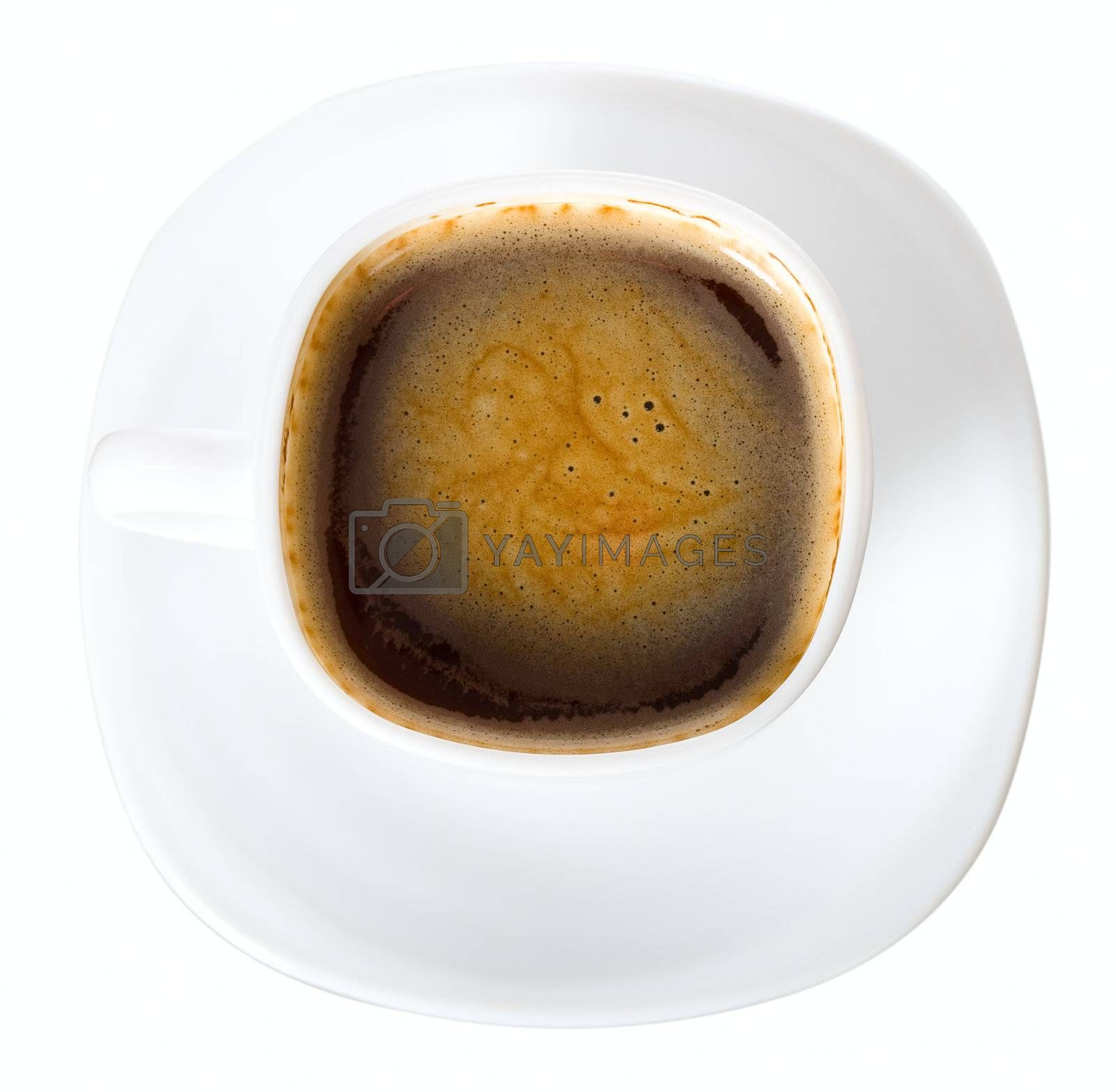 close-up cup of coffee with skin, view from above, isolated on white