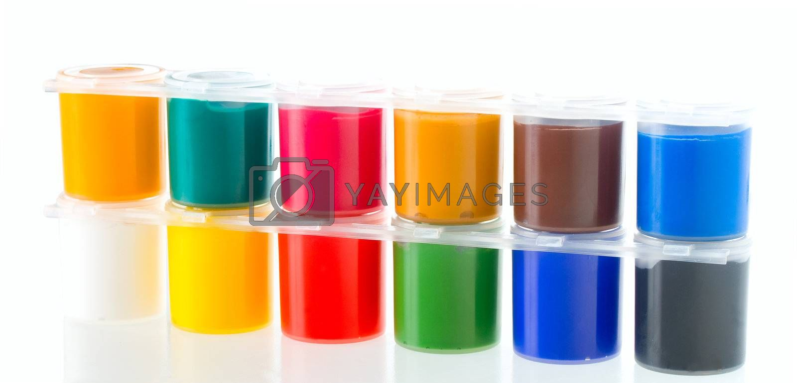 multicolored set of gouache painting, isolated on white