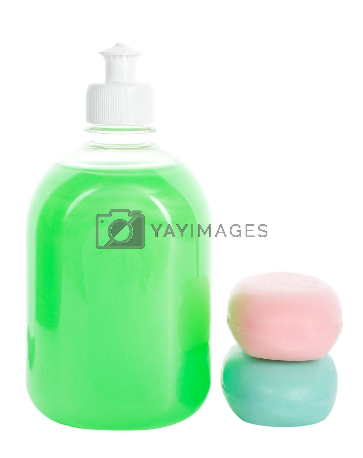 liquid soap and two bars of toilet soap, isolated on white