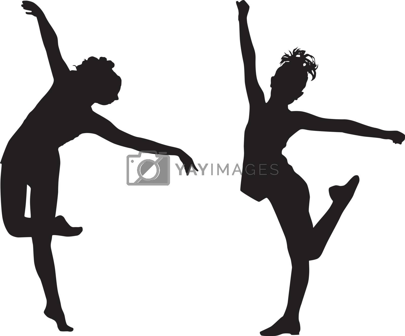 Silhouette dance children