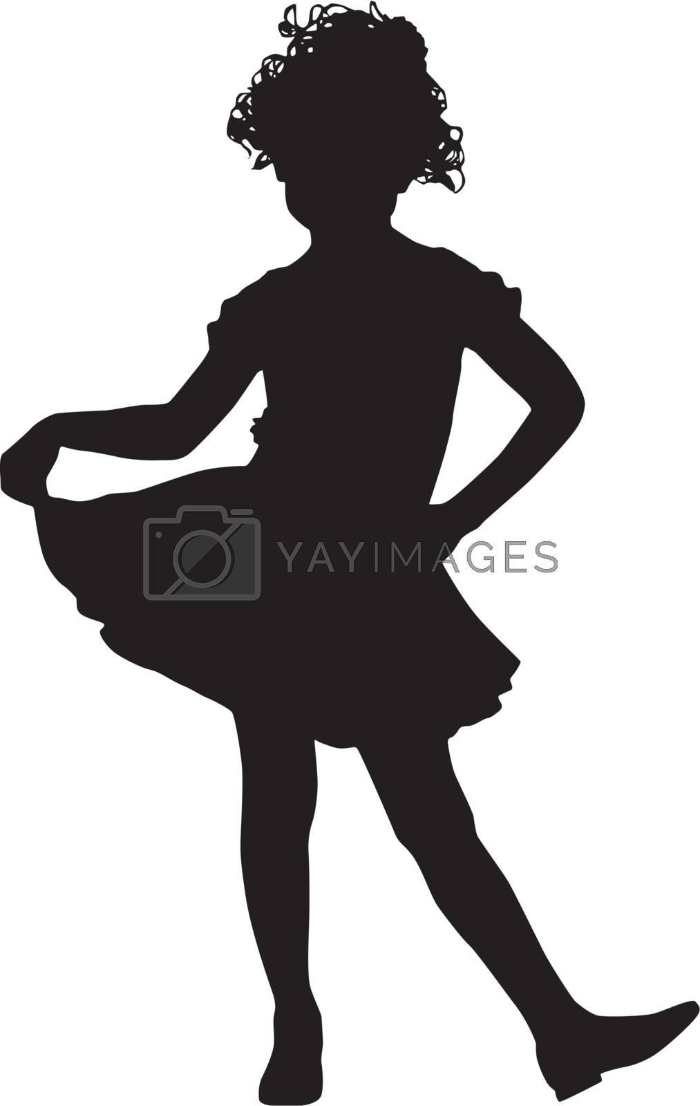 Happy silhouette small girl