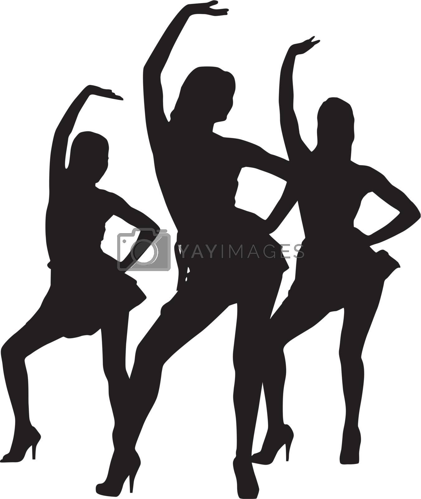 Silhouette dancers