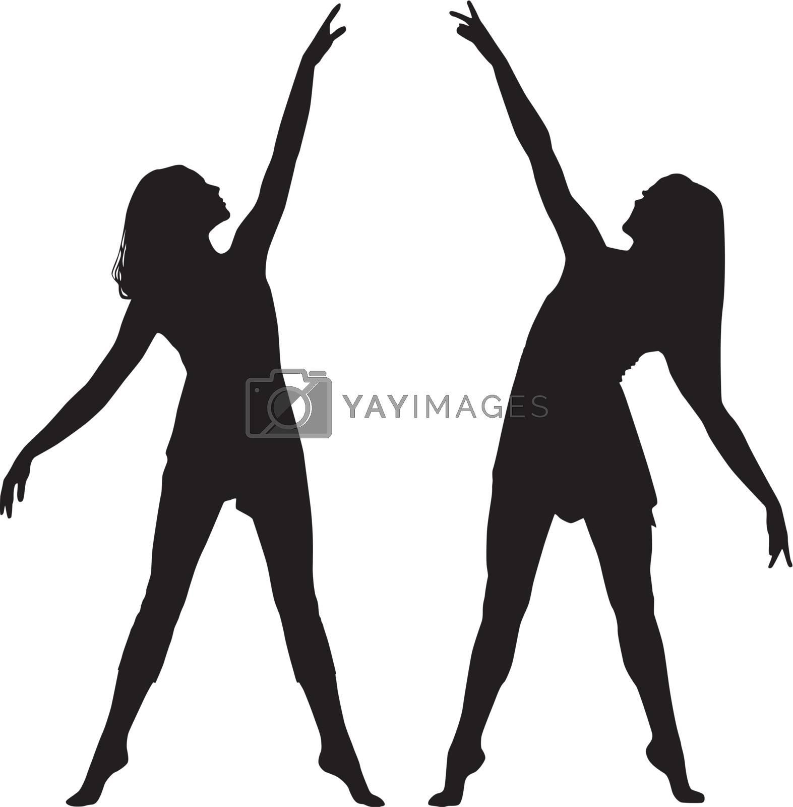 Silhouette women dance