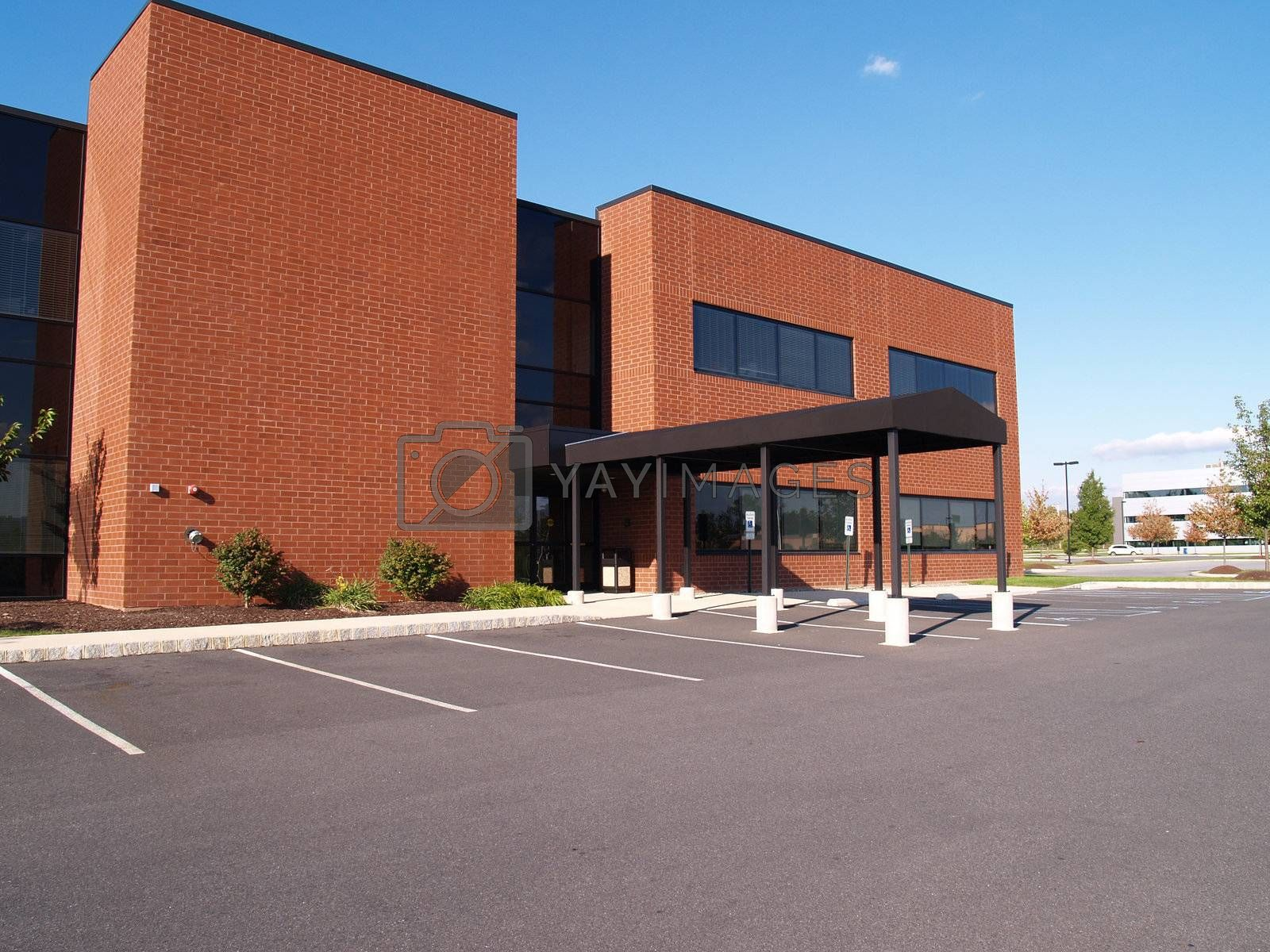exterior of a red brick modern office building