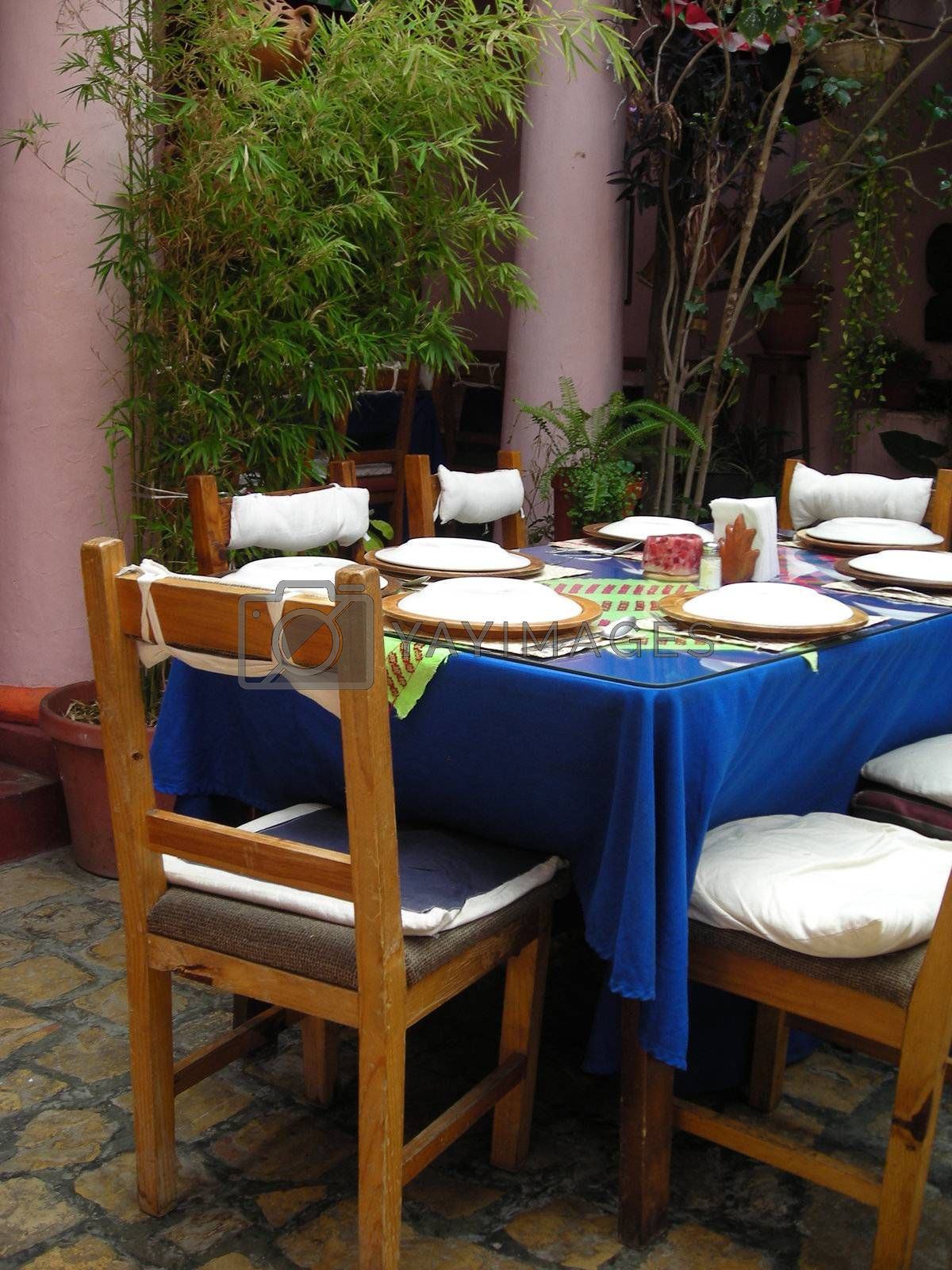 Mexican Restaurant showing table setting in Chiapas, Mexico