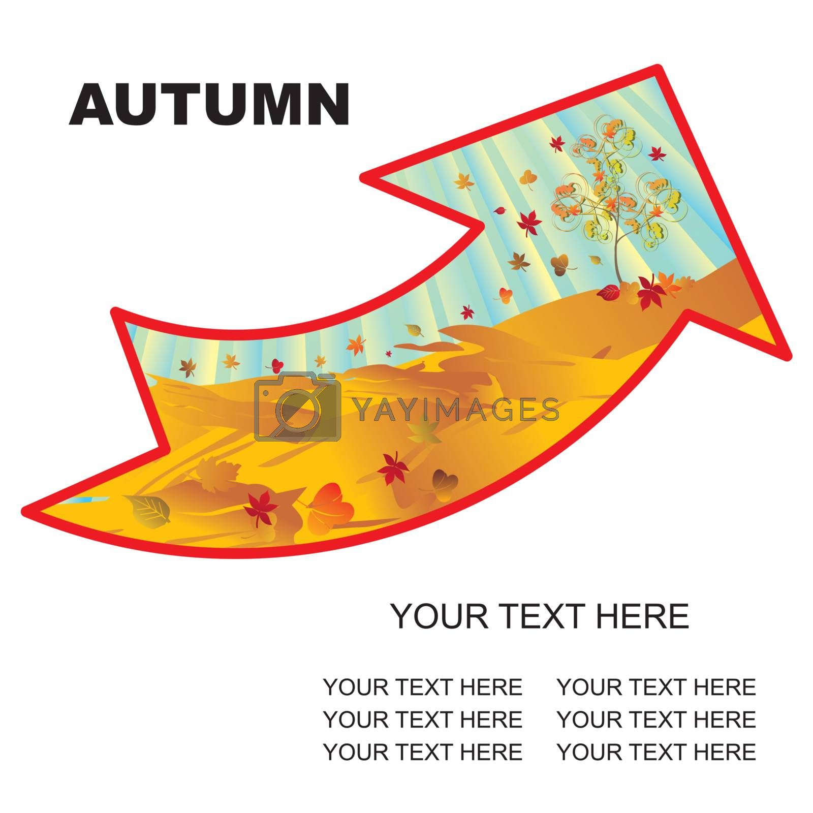 autumn landscape arrow with copy space vector illustration - easy to change