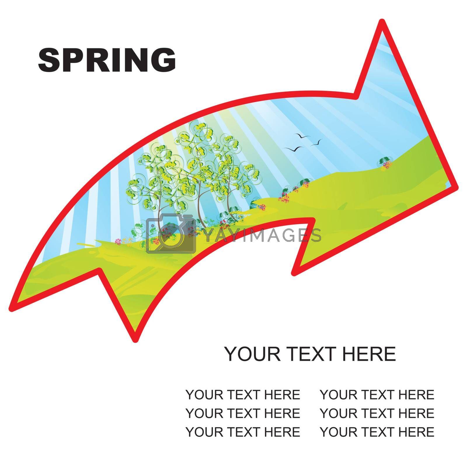 spring landscape arrow with copy space vector illustration - easy to change
