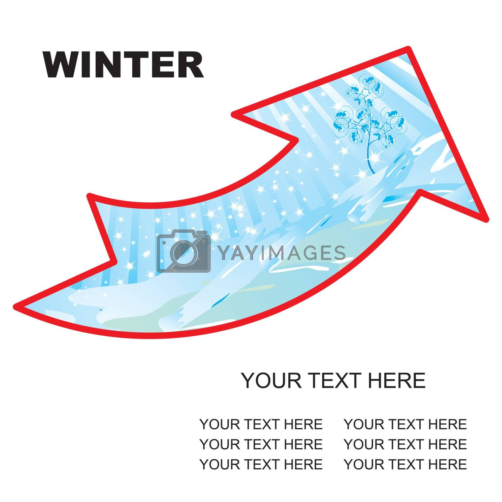 winter landscape arrow with copy space vector illustration - easy to change