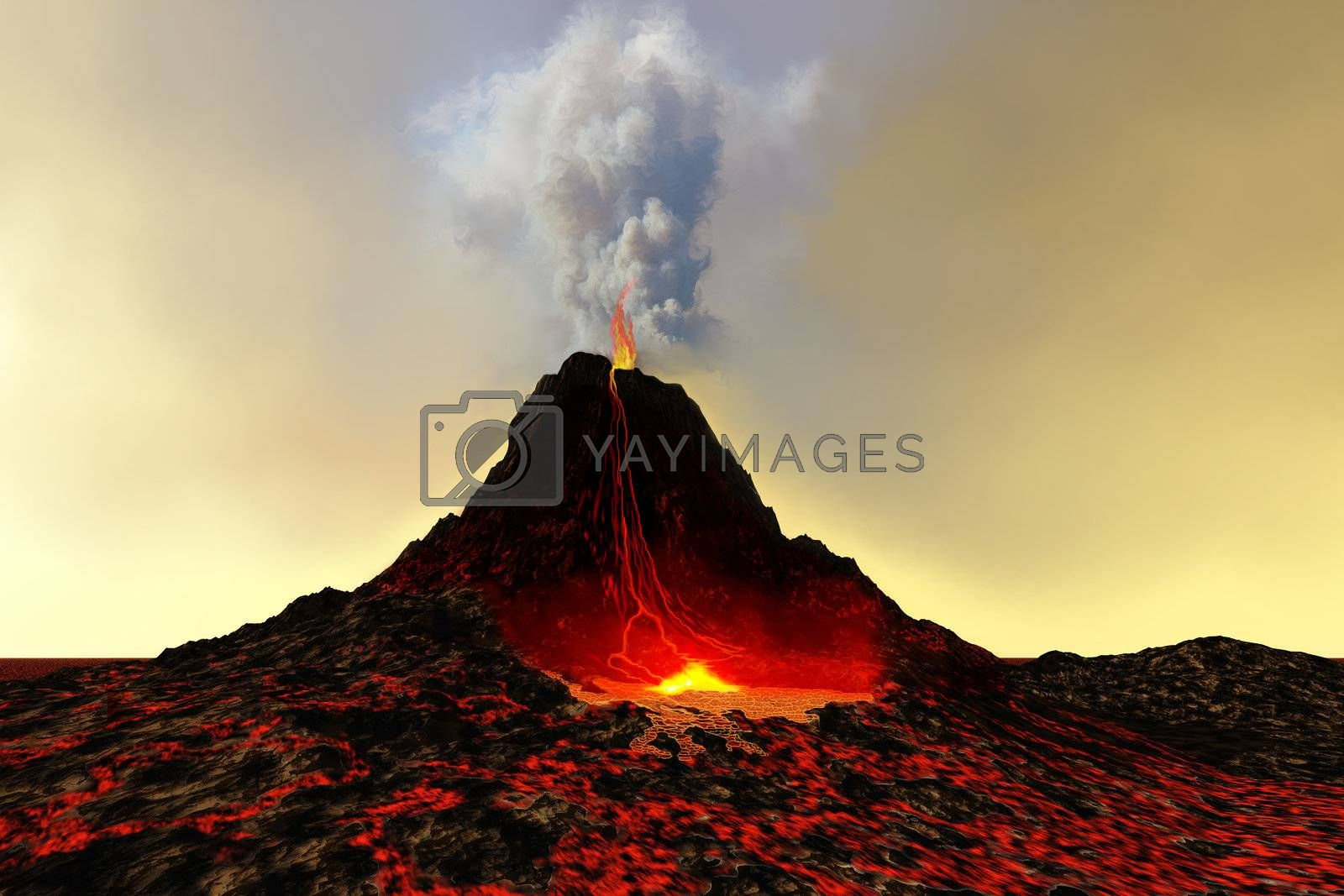 An active volcano spews out hot red lava and smoke.