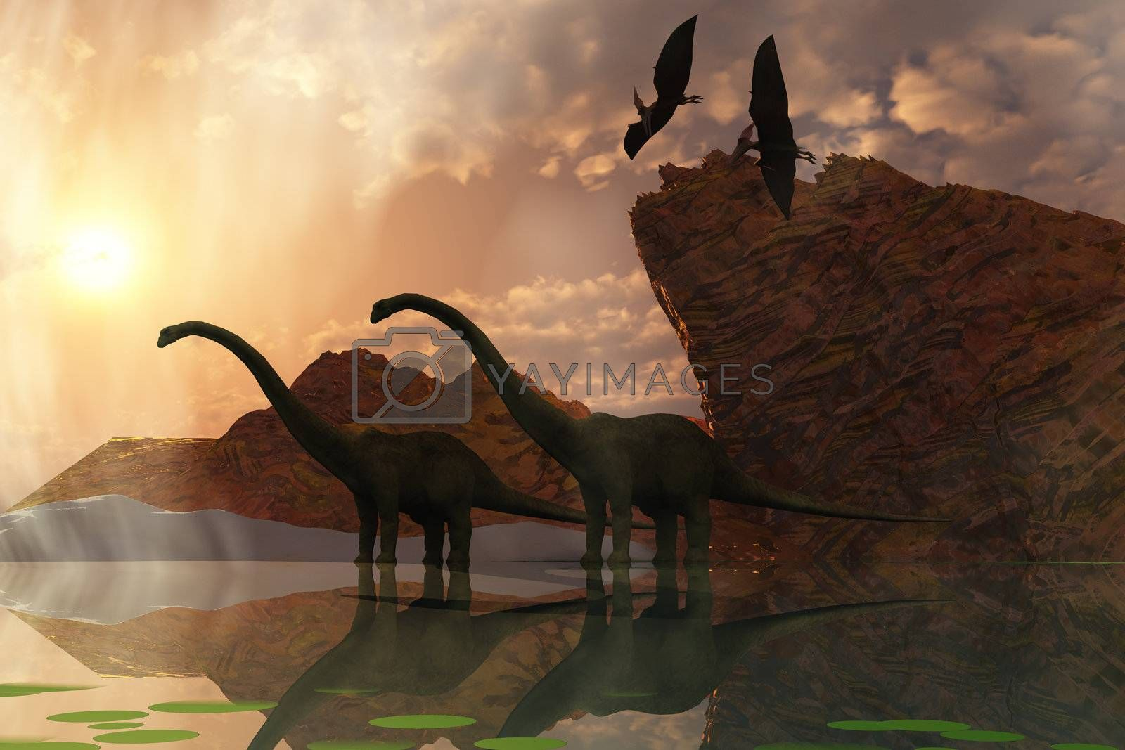 Two diplodocus dinosaurs and two flying pterodactyl birds greet the early morning mist.