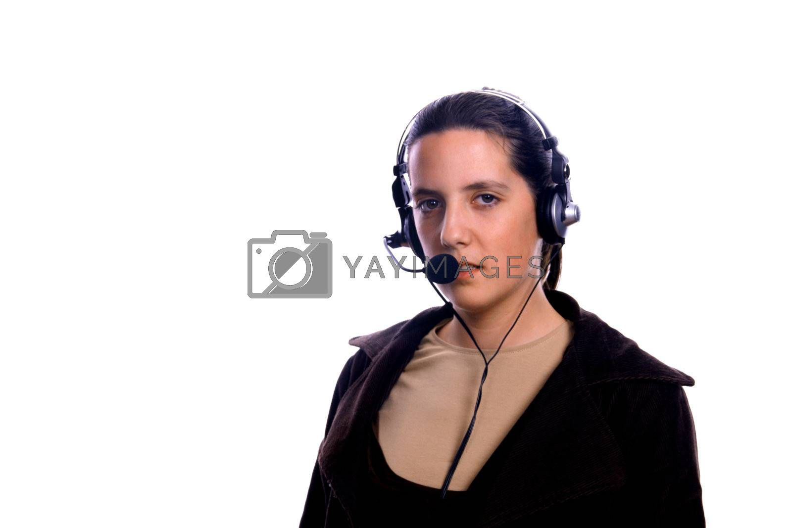 young woman in a call center