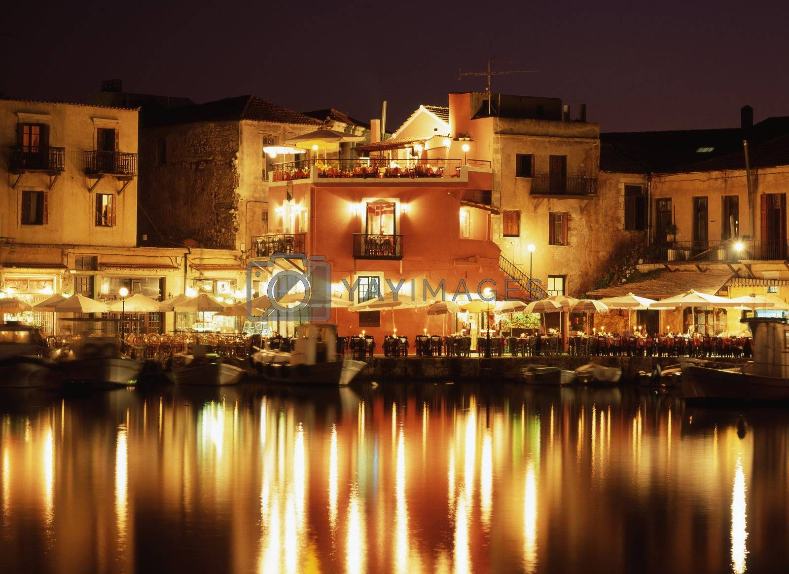 The lights of the Venetian harbour Rethymnon, Crete.