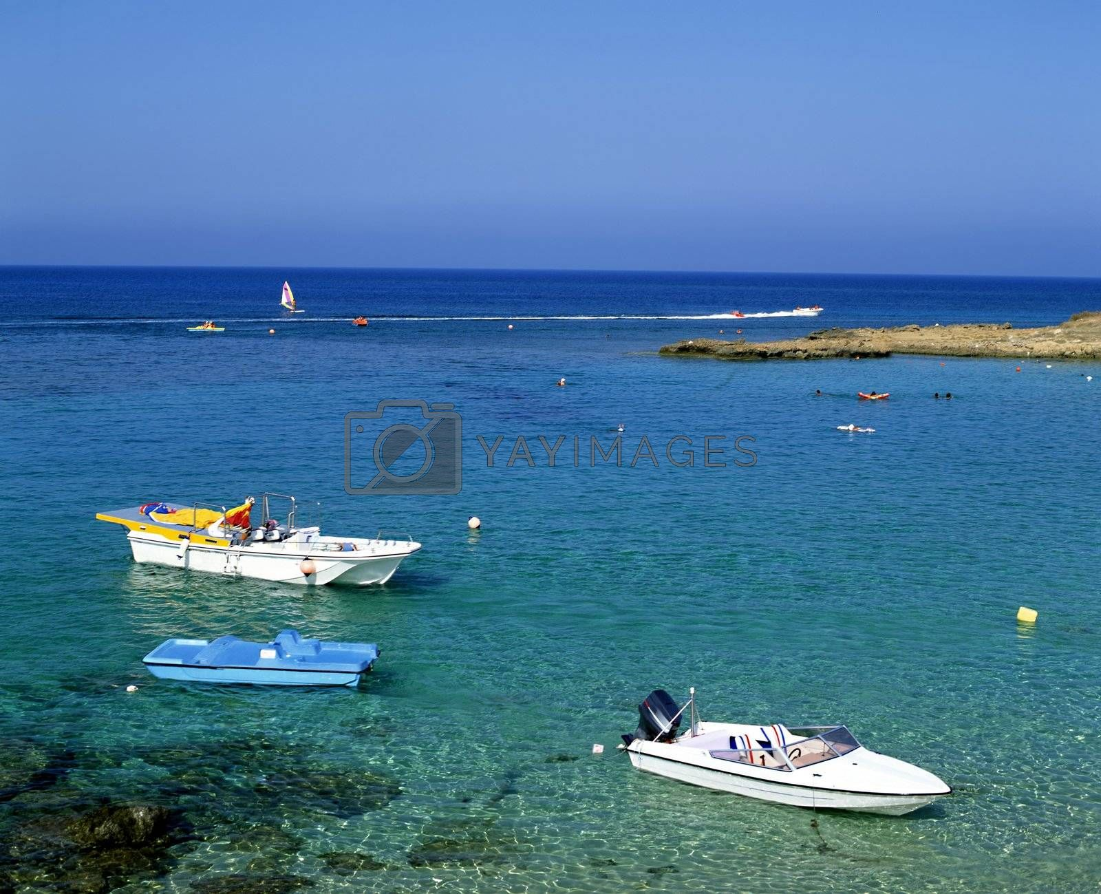 Pleasure boats in Fig Tree Bay on the island of Cyprus
