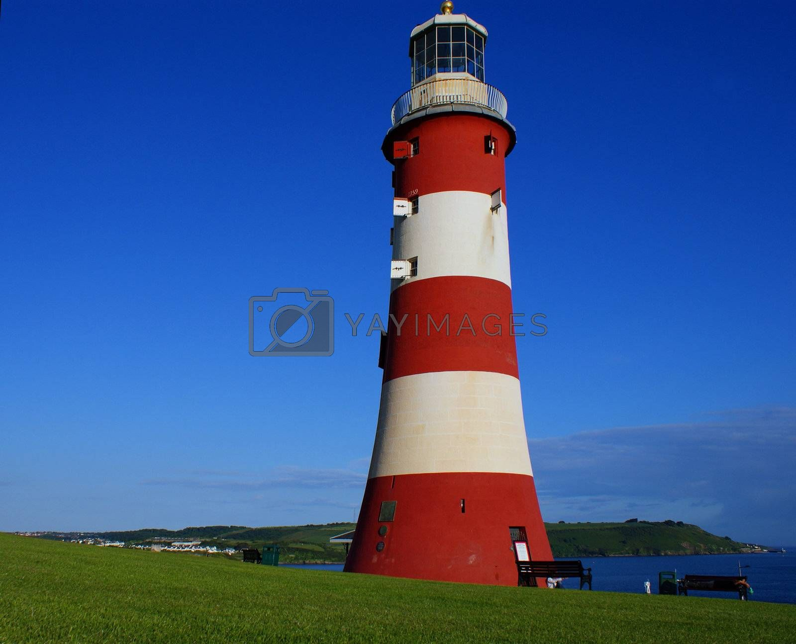 Plymouth lighthouse and blue sky