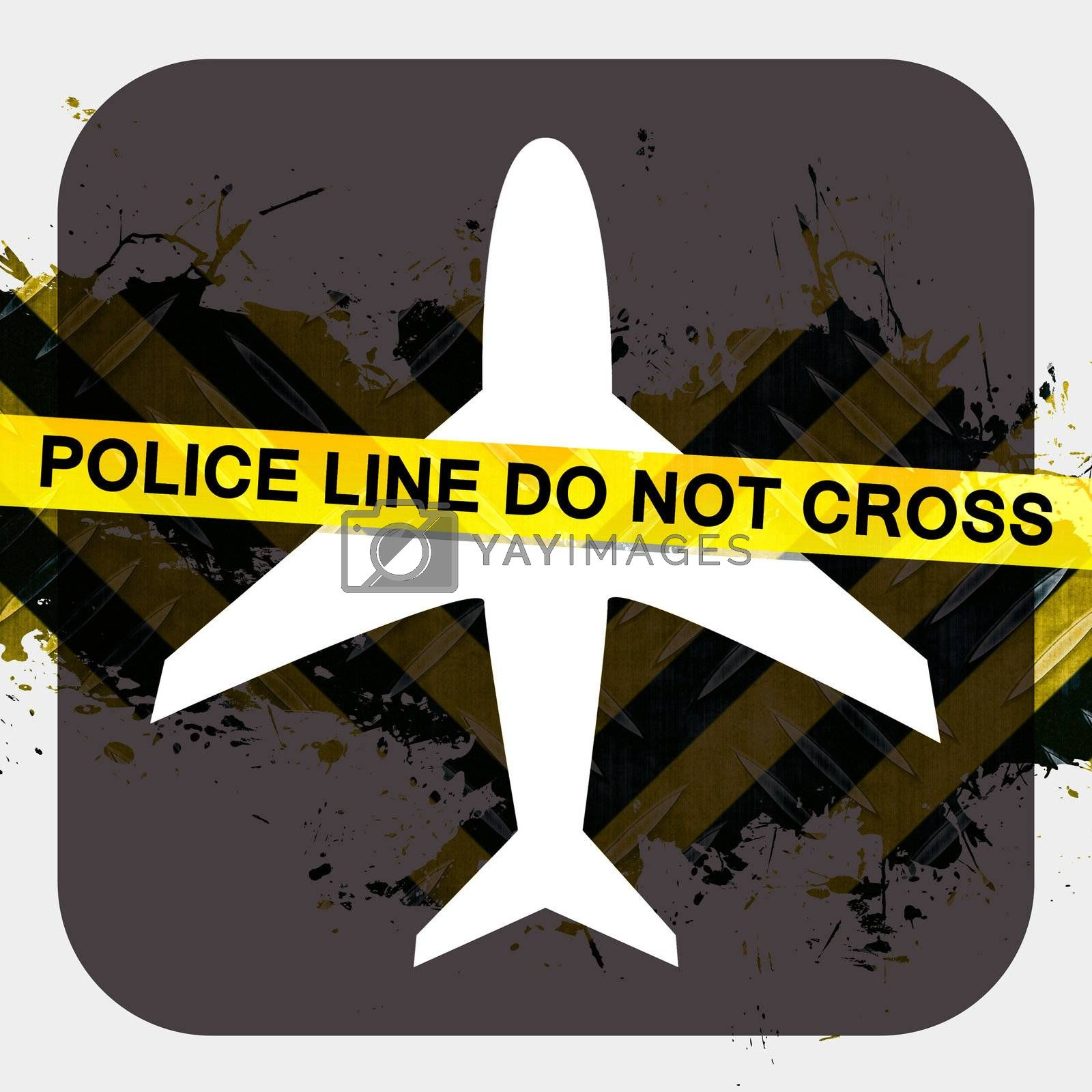 Airport security screening illustration terrorist or criminal activity with police tape reading POLICE LINE DO NOT CROSS.