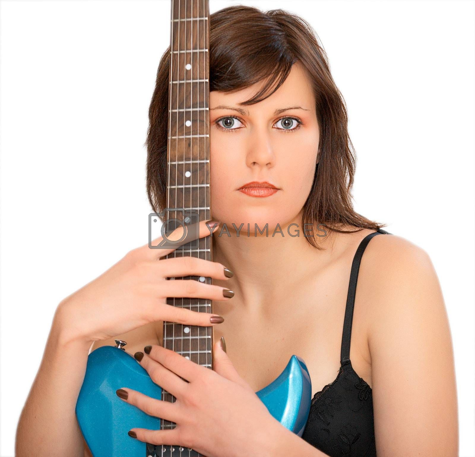 Young beautiful woman with guitar