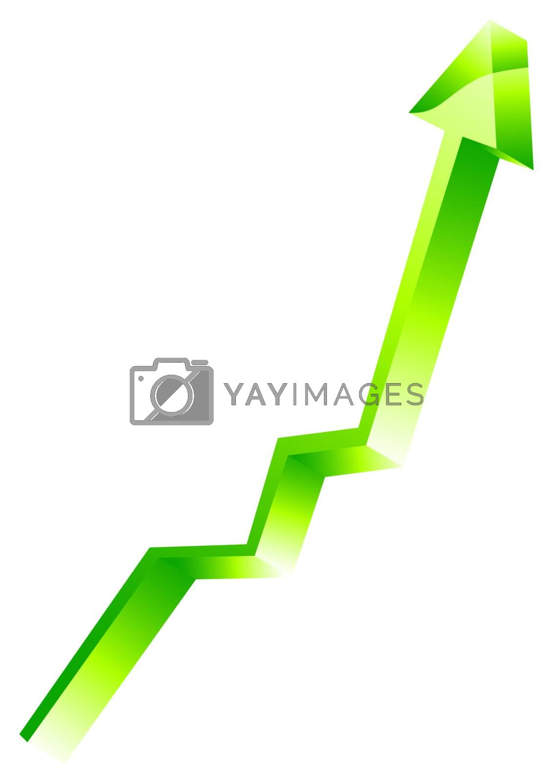 3d shiny arrow in perspective, vector illustration
