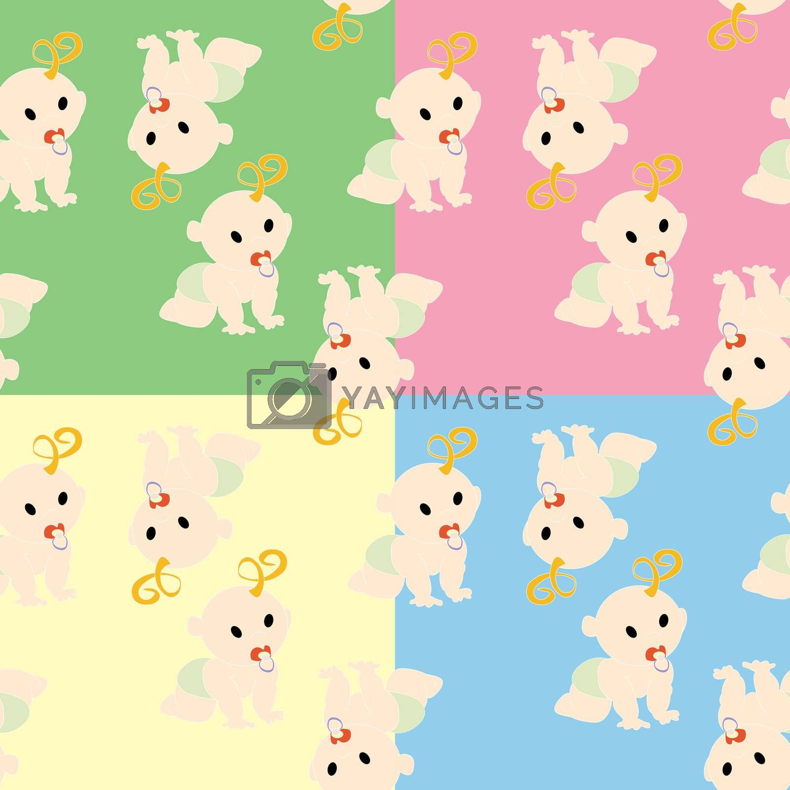 Pattern with babies in colors, vector