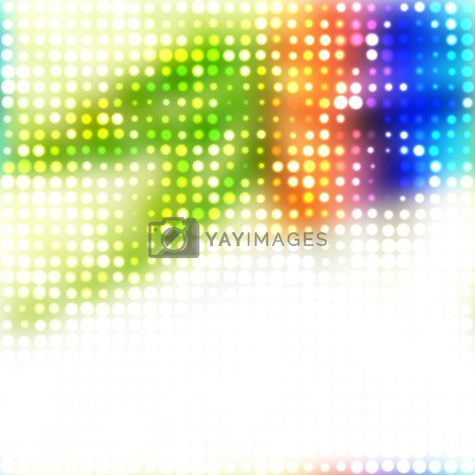 A rainbow colored halftone texture with glowing circles and plenty of copyspace. This image tiles seamlessly as a pattern in any direction.
