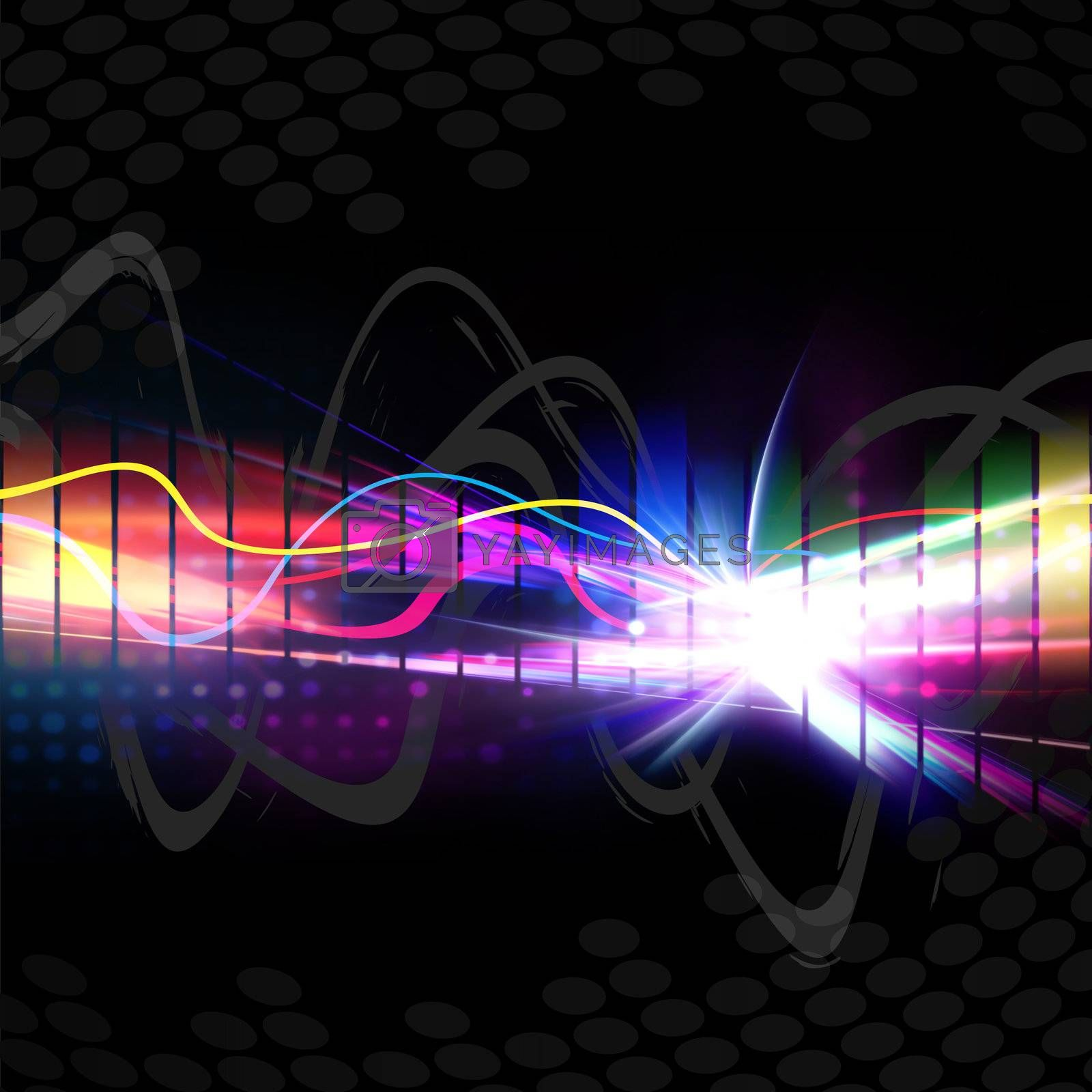 A rainbow colored graphic equalizer wave form isolated over a black background.