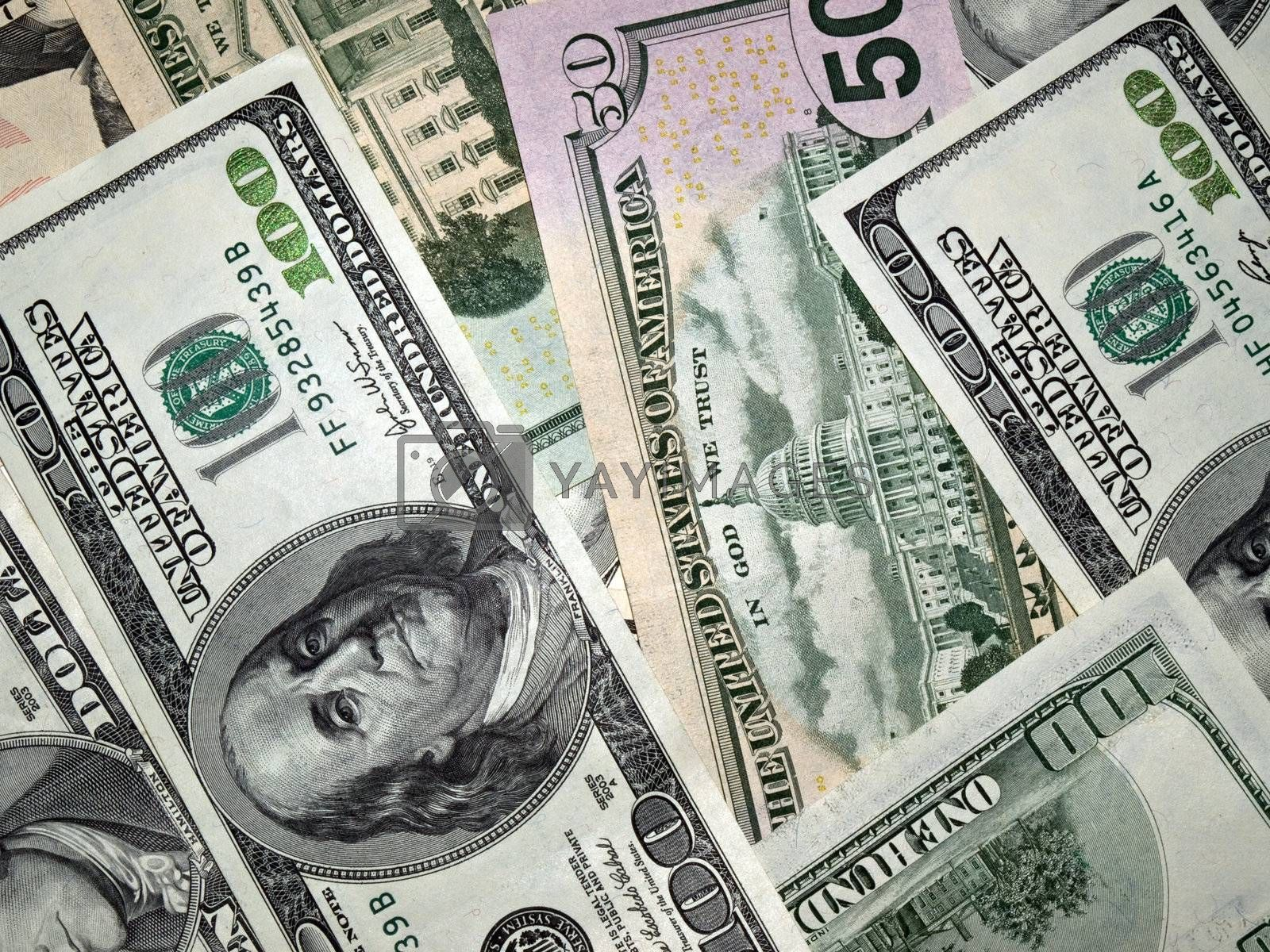 American money. 100, 50, 10 Dollars