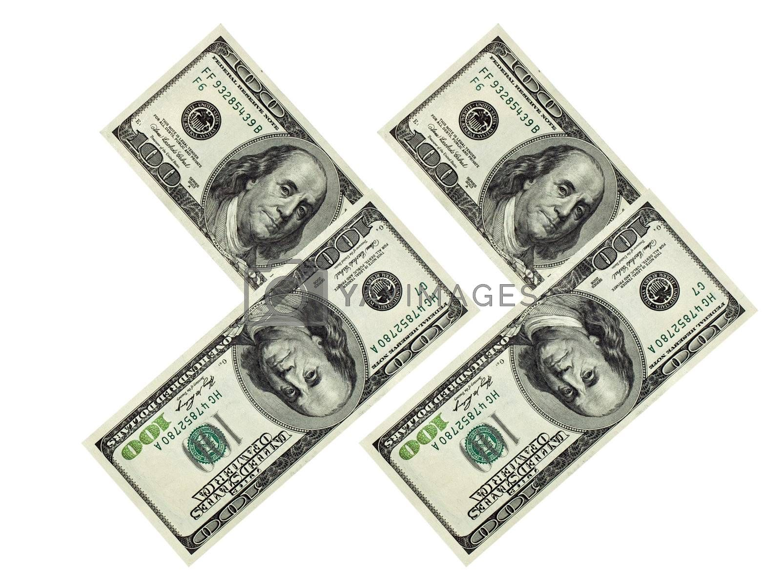 American money. Dollars isolated on white