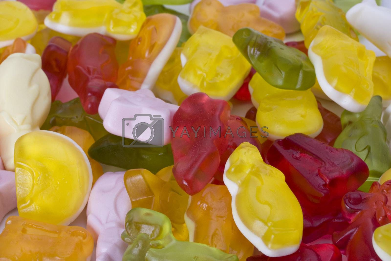 detail of colorful gummy bear candy