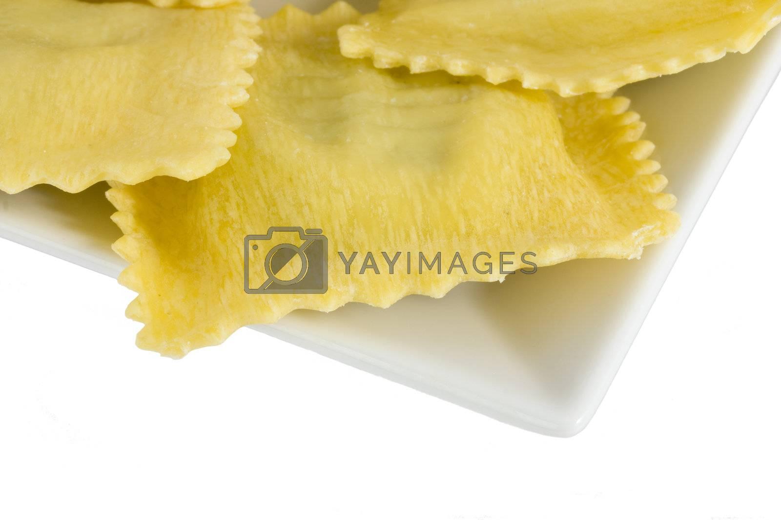 home made ravioli pasta on a angled plate