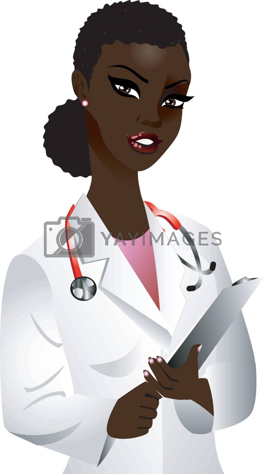 Vector of black woman doctor. See others in this series.