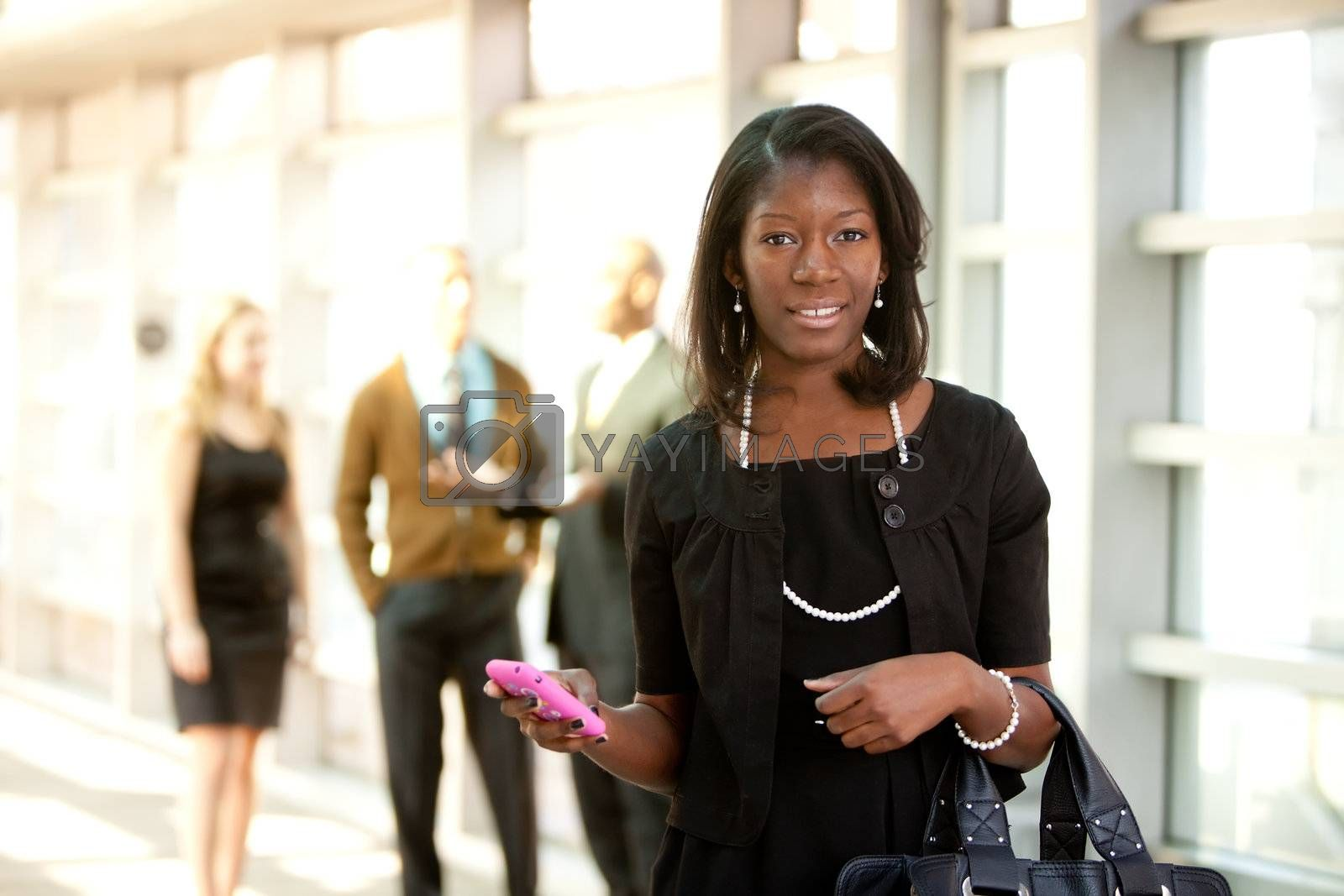 Business Woman with Smart Phone by leaf