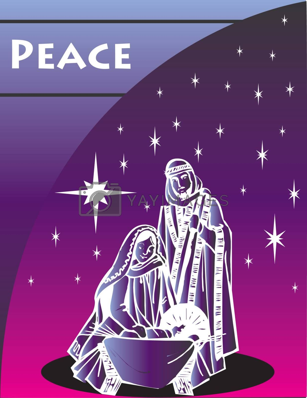 Nativity Christmas Card 1 Vector Illustration.