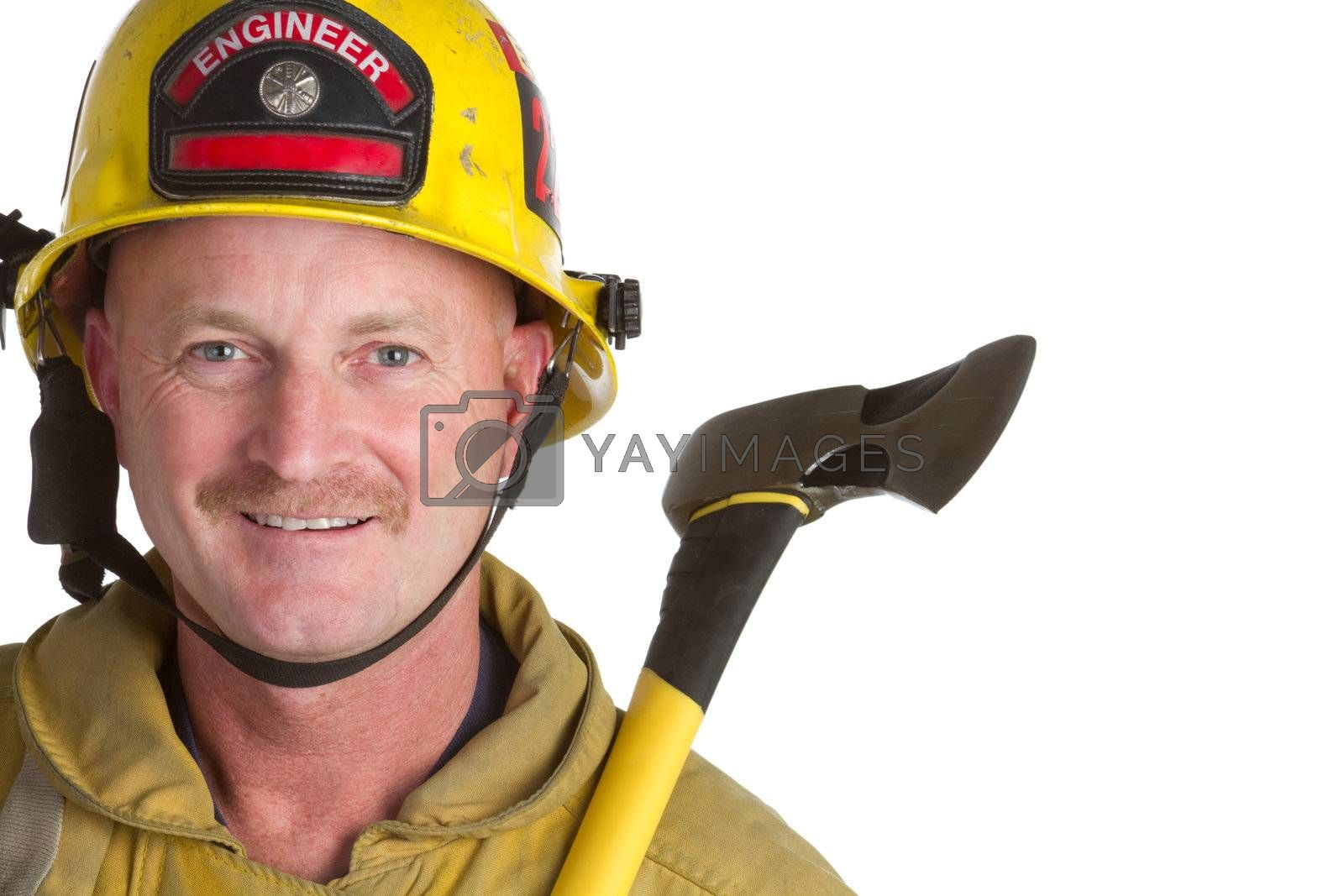 Fire fighter holding axe