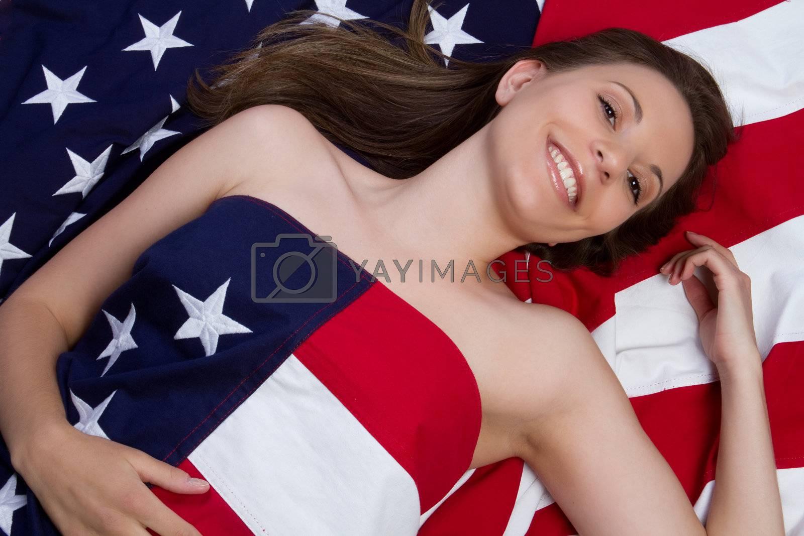 Smiling american flag woman