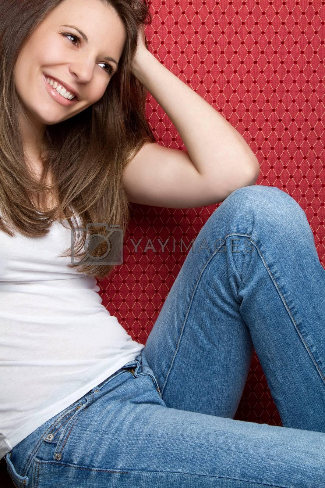 Happy teen girl wearing jeans
